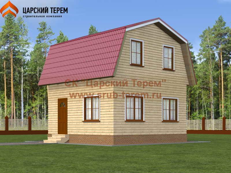 Дом из бруса 6х6 с ломаной крышей