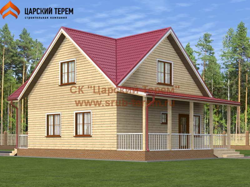Дом 8х8 из бруса с террасой