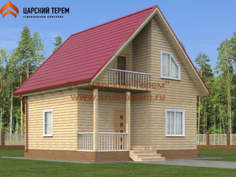 Дом из бруса 7х7 с мансардой