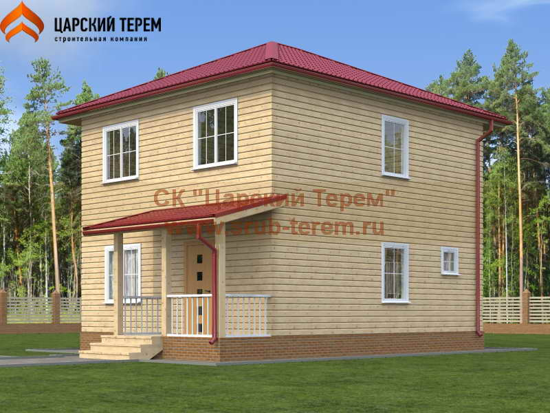 Двухэтажный дом из бруса 7х8