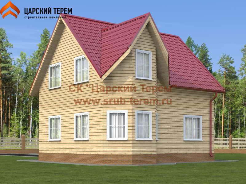 Дом из бруса 7х8 в полтора этажа