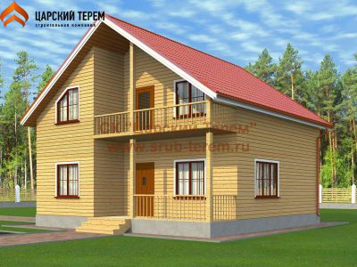 Дом 9х9 из бруса с балконом | Д156