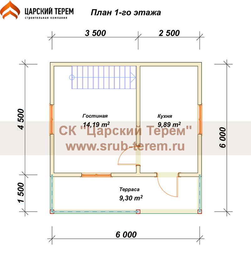 Дом из бруса 6х6 с мансардой - планировка 1 этажа