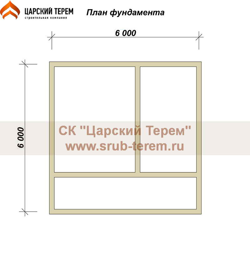 Дом из бруса 6х6 с мансардой - план фундамента
