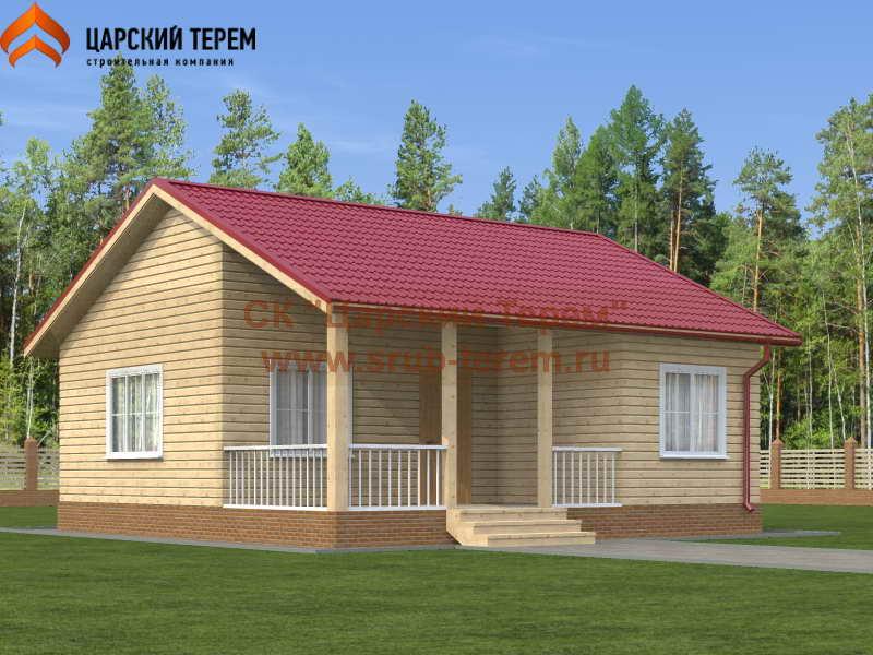 Одноэтажный дом из бруса 8х8