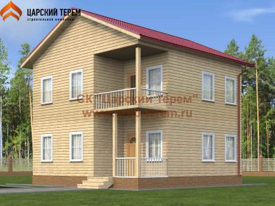 Двухэтажный дом из бруса 8х8
