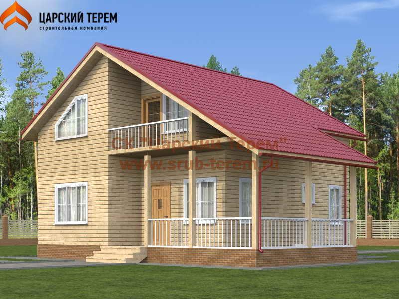 дом 8х8 из бруса с мансардой, террасой и балконом