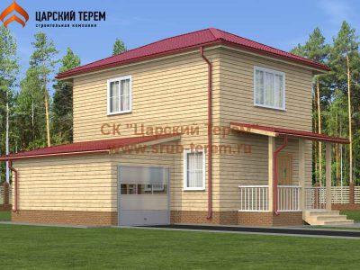 Двухэтажный дом из бруса 6х7 с гаражом