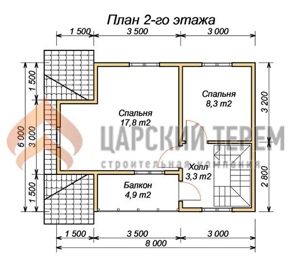 """Проект дома 6х8 из бруса с балконом и террасой """"царский тере."""