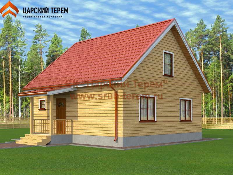Типовой проект дома 8х8 с мансардой | Д163