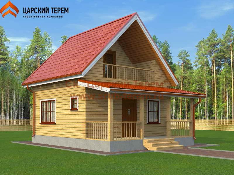 Деревянный дома 6х6 с мансардой   Д171
