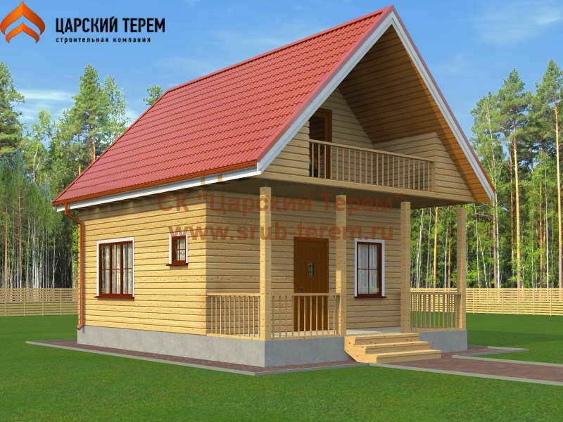 Дом 6х6 с балконом и террасой | Д161